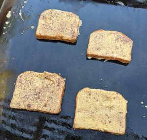 French toast on a Blackstone griddle