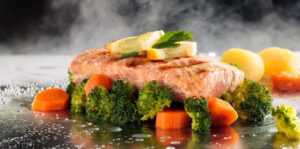 Griddle steamed Salmon and Vegetables