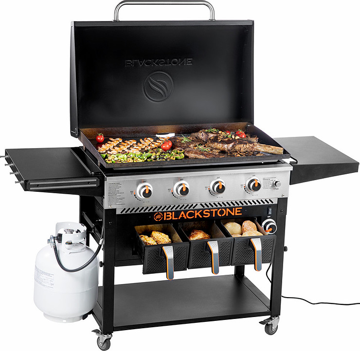 "Blackstone 4-Burner 36"" Griddle With Air Fryer And Hood"