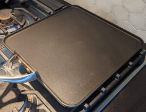 Griddle pan on a stove top